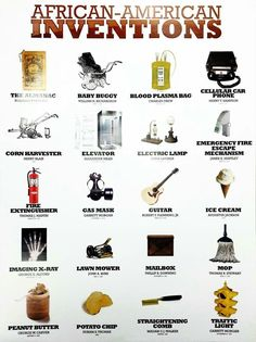 about African American Inventors Poster Black History Famous People Inventions Great for children, schools, etc. A wonderful educational and trivia tool. Black History Inventors, Black History Books, Black History Facts, Famous Black Inventors, Black History Timeline, Black History Month People, World History Facts, Strange History, African American Inventors