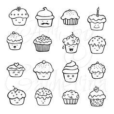 cute cupcake doodles planner and Bullet Journal art Doodle Inspiration, Bullet Journal Inspiration, Doodle Drawings, Easy Drawings, Bujo Doodles, Food Doodles, Kawaii Doodles, Doodle Lettering, Ideias Diy
