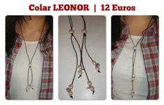 Colar LEONOR  |  Colar em pele, com nó regulável, pérolas com pormenor guizo e coração nas pontas    |  12€