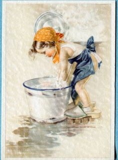 Postcard Girl Washing Clothes in Tub Éphémères Vintage, Decoupage Vintage, Vintage Artwork, Vintage Ephemera, Vintage Prints, Vintage Pictures, Vintage Images, Art Pictures, Vintage Printable