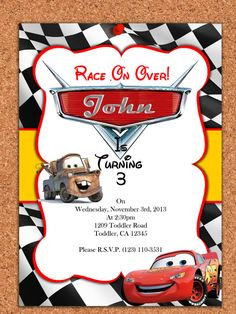 PRINTABLE INVITATION, Disney Cars Invitation , Cars Invite , Disney Cars Birthday