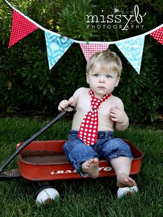 Jacoby 1st Birthday photo shoot... minus the tie. Love the wagon!