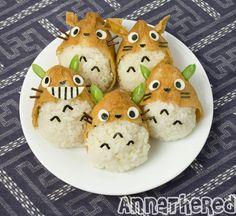 How to make Totoro inari-zushi, nerdy food Totoro, Kawaii Bento, Cute Bento Boxes, Bento Box Lunch, Cute Food, Yummy Food, Bento Recipes, Bento Ideas, Food Humor