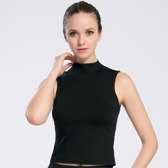 1c2314028b748 New Yoga Tops High Collar Sexy Gym Sports Vest Fitness Running tight woman  Sleeveless shirt Quick Dry Fit Tank Top Yoga Wear