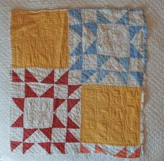 Antique Quilt Piece STARS & SQUARES by NauvooQuiltCo on Etsy, $10.00