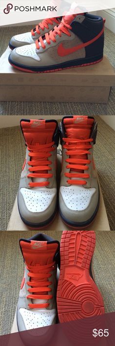 Men's Nike Dunk High light bone/team orange-tar Excellent used condition with minor signs of wear (minor scuff on left toe box, slight creasing at toes, minor scuffs on sole). Nike Dunk High consists of light bone, orange and brown in combination with a perforated mid-panel. Authentic Shoes Sneakers