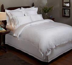Amazon.com - Pinzon Hotel Stitch 400-Thread-Count 100-Percent Egyptian Cotton Sateen Duvet Cover, King, White with Silver Grey Stripes - Pinzon White Duvet