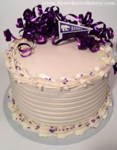 K-State Pennant on our Birthday Cake with Purple Ribbon.