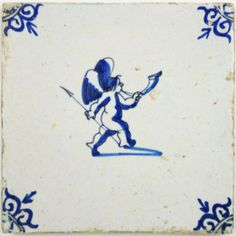 Dutch Delft tile with cupid