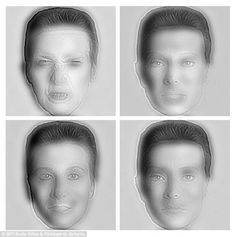 On the top row, up close, you can see that the man on the left is scowling, while the woman on the right has a placid facial emotion. Move back, and the faces change expressions and even genders. If you squint, blink or defocus, the angry man turns calm, and the calm woman turns angry, and male