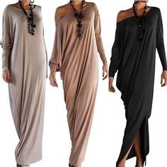 Plus Size Women Ladies Casual Long Sleeve Evening Party Cocktail Maxi Long Dress