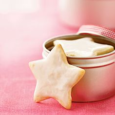 A Big Container Of Homemade Swedish Almond Cardamom Stars Cookies