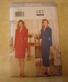 Butterick 4142 Misses' Dress Pattern Sizes 12-16 1995 Uncut DW3 David Warren #Butterick