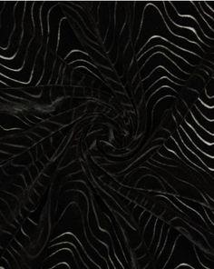 Silk Velvet Devore Fabric   Waves Black   Truro Fabrics