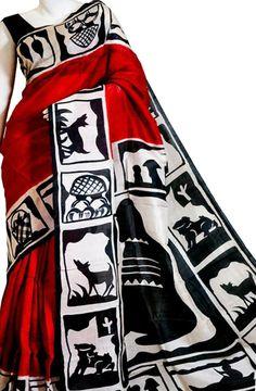 Red Hand Block Printed Silk Saree   #handpaintedsaree#handcrafted#madeinIndia#cottonsaree#Indiansaree#sareefashion#beingIndian#digitalprinted#linensilk#tussarsilk#HandBlockprinted# Silk Cotton Sarees, Tussar Silk Saree, Pure Silk Sarees, Saree Wearing Styles, Saree Painting, Hand Painted Sarees, Block Print Saree, Traditional Silk Saree, Sari Design