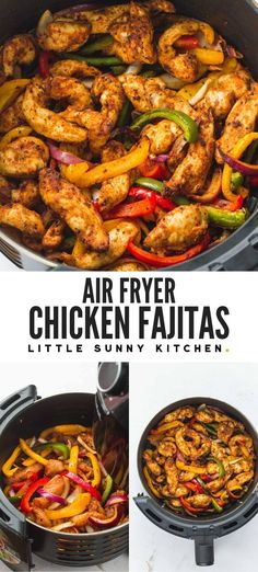 Super easy and flavorful chicken fajitas made quickly in the Air Fryer! The chicken is succulent and bursting with flavor and the peppers and onions are crunchy and delicious. A great dinner for busy mid-week nights! Air Fryer Oven Recipes, Air Frier Recipes, Air Fryer Dinner Recipes, Easy Dinner Recipes, Air Fryer Chicken Recipes, Easy Dinners, Air Fryer Recipes Mexican, Air Fryer Rotisserie Recipes, Easy Meals For Dinner