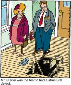 Comic of Marina Del Rey realtor showing house with hole in floor.