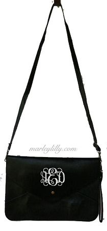 Monogrammed Black Penny Cross Body Wristlet Purse