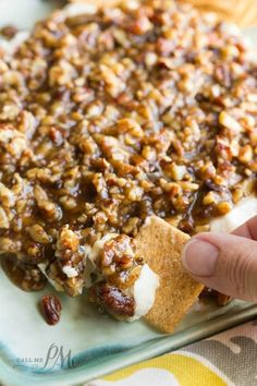 The perfect sweet and salty combo with a brown sugar and mustard sauce over a seasoned cream cheese,French Quarter Pecan Cheese Spread Recipe