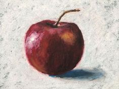 Oil Pastel Drawing Lesson - Simple Apple