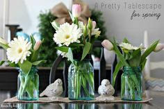 10 Spring Decor Ideas to Kick the Winter Blahs! - House by Hoff. Pretty table scape.