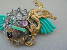 THE GRIFFON'S LAIR Steampunk Assemblage Pin Brooch unique handmade