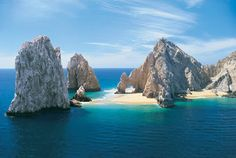 Lovers Island, Cabo San Lucas, Mexico. We were lucky enough to be here when the tide was low enough to stand under the arch and take pictures.