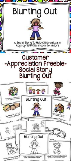 Free Classroom Materials - This is a social story to help children learn positive classroom behaviors . This social story will help students learn to not blurt out during class.