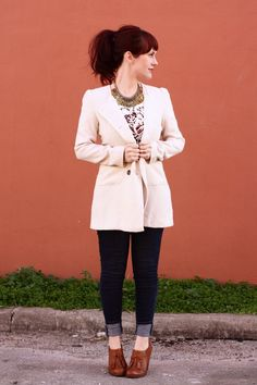 I love everything about this outfit...the necklace, the shoes, the blouse, the jeans, the blazer...