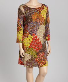 Loving this Orange & Yellow Peacock-Plume Shift Dress - Plus on #zulily! #zulilyfinds