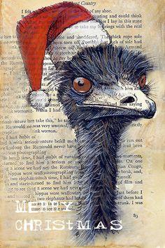 Emu Christmas Card by Michele Meister Christmas Animals, Christmas Images, Christmas Art, Handmade Christmas, Christmas Goodies, Christmas Ideas, Australian Christmas Cards, Aussie Christmas, Emu
