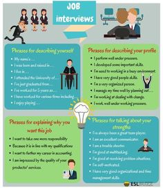 Job Interview Tips! Job interviews are always stressful, especially for job seekers who have attended countless interviews. Below are useful phrases for a job interview you should learn to make a successful one. Job Interview Answers, Job Interview Preparation, Job Interview Tips, Job Interviews, English Tips, English Lessons, Learn English, Job Cover Letter, Public Speaking Tips
