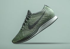 """Another member of the """"Macaroon"""" pack, this Nike Flyknit Racer features a delicious shade of pistachio green across the upper. Officially Ghost Green, there's nothing scary about this excellent look for the modern classic sneaker, sporting a heathered green and … Continue reading →"""