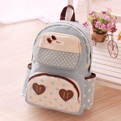 Cute kawaii dot bow love school backpack