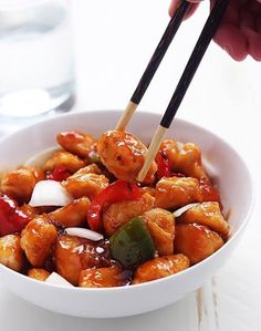 Healthy Sweet and Sour Chicken!  Credit: Tiffany Find the recipe here: http://www.lecremedelacrumb.com/healthy-sweet-sour-chicken/