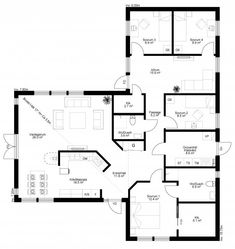 Fyra sovrum och två badrum. Brutet innertak och dubbeldörrar mot uteplatsen. Huset erbjuder mängder av möjligheter! L Shaped House Plans, New House Plans, Dream House Plans, Small House Plans, House Floor Plans, My Dream Home, Bungalows, Sims 4 Houses, House Drawing