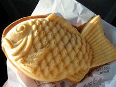 TAIYAKI (Fish shaped pancake filled with sweet red beans. )