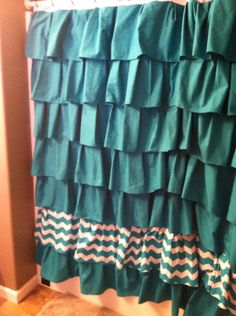 Ruffle Shower Curtain with Chevron Option by StichXStichCreations, $90.00
