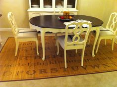 French Provincial dining set redo using Annie Sloan antique white chalk paint.