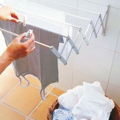 wäscheleine idee bad praktisch kompakt