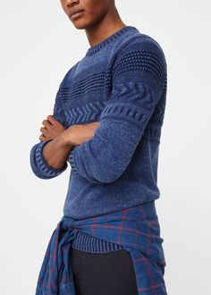 Flecked jacquard sweater | MANGO MAN