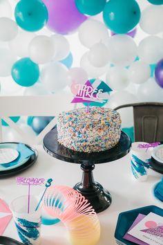 "Retro Sprinkle Cake from a Retro ""Threenager"" 3rd Birthday Party on Kara's Party Ideas | KarasPartyIdeas.com (17)"