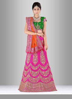 605e568c46 Alluring Green And Magenta Raw Silk Bridal Lehenga Choli