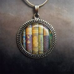 Shabby Bookshelf pendant, book pendant book jewelry book jewellery librarian gift book lover gift