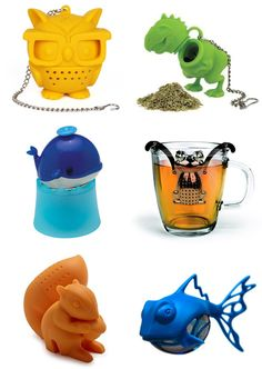 Animal Inspired Tea Infusers - owl, t-rex, whale, monkey, squirrel, dunkfish