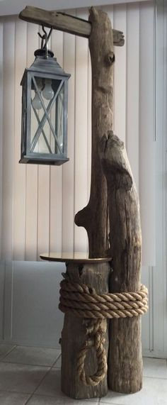 """Starting Woodworking Business Ohio River driftwood, converted lantern, brass table top, and massive rope all come together perfectly for this awesome """"nautical feel"""" floor lamp. Driftwood Flooring, Driftwood Art, Driftwood Furniture, Driftwood Table, Into The Woods, Wood Projects, Woodworking Projects, Woodworking Shop, Woodworking Equipment"""