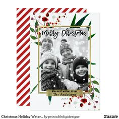 Shop Christmas Holiday Watercolor Modern Floral Photo created by printabledigidesigns. Christmas Scrapbook Layouts, Scrapbooking Layouts, Scrapbook Cards, Baby Scrapbook, Christmas Photo Cards, Holiday Cards, Christmas Holidays, Christmas Layout, 1st Christmas