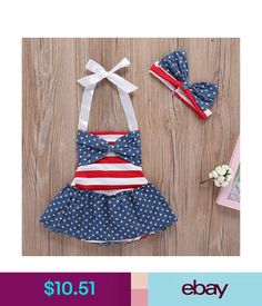4943dcd987bc Girls  Clothing (Newborn-5T) Baby Girl 4Th Of July Clothes Romper Dress