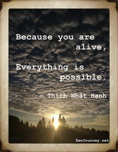 Zen Journey Thich Nhat Hanh Quote Because you are alive everything is possible How to Live a Passionate Life