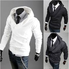 Men's+White+Double+Zipper+Hoodie